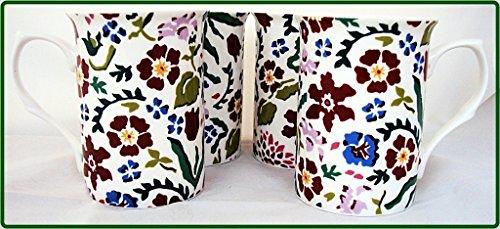 Wild Flower Meadow Becher Set von vier 4Fine Bone China Tassen, Hand-dekoriert in Großbritannien) Dunkelviolett Meadow Flowers Bone China