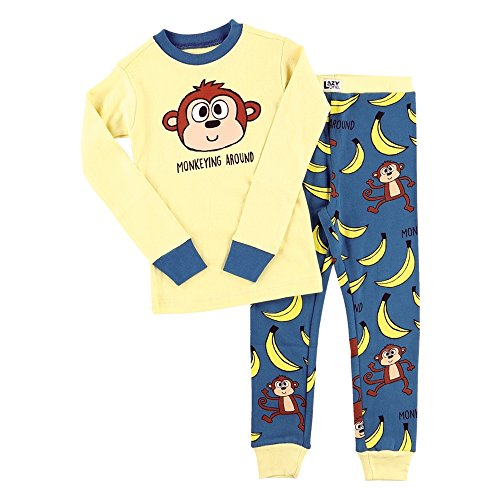 Lazy One Unisex Monkeying Around Kids PJ Set Long Sleeves