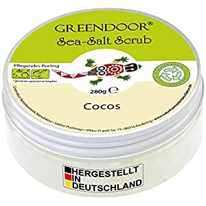 Greendoor Körperpeeling Meersalz Cocos, 4,4 Sterne natürliches Salz-Peeling ohne Mikroplastik mit Bio Kokos, 280g Duschpeeling Naturkosmetik, Body Scrub Damen, Körper-Peeling Sauna-Salz
