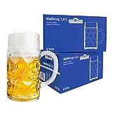 Van Well 12er Set Maßkrug 1 Liter geeicht | großer Bierkrug mit Henkel | Bierglas spülmaschinenfest perfekt geeignet für Gastronomie
