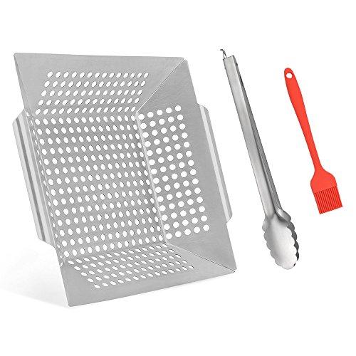 Kalrede set di utensili per grigliata da 5pezzi, in acciaio inox, con custodia in alluminio, include spatola, pinze, forchettone da carne, spazzola per pulizia e pennello in silicone, grill basket, 35*31*6cm