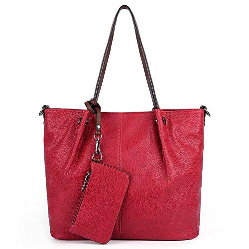 UTO Damen Tote Bag Handtasche 2 Stück Set Schulter Geldbörse mit Armband Brieftasche Strap rot -
