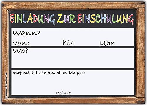 Einladungskarten Schulanfang Einschulung Schuleinführung Einladung Schultafel Set 10 Stück - 3