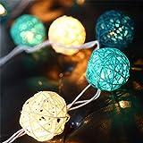 EchoSari 20er LED Rattan-Ball Lichterketten Deko Warmweiß Batteriebetrieben [ Rattan Ball's Diameter:5cm/2.04 in ] Ideal für Hochzeit, Weihnachten, Party, Heim-Dekoration -- Grün