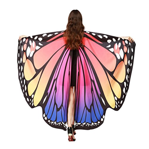 OVERDOSE Frauen 197 * 125CM Weiche Gewebe Schmetterlings Flügel Schal feenhafte Damen Nymphe Pixie Kostüm Zusatz (197 * 125CM, B-Hot Pink (168 * 135CM))