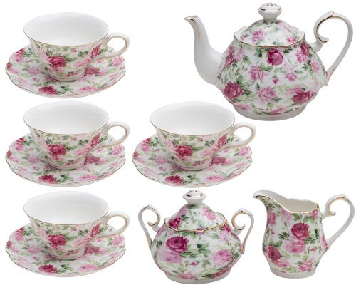 Gracie China by Coastline Imports Pink Summer Rose Chintz 11-Piece Tea Set by Gracie China by Coastline Imports Pink Chintz