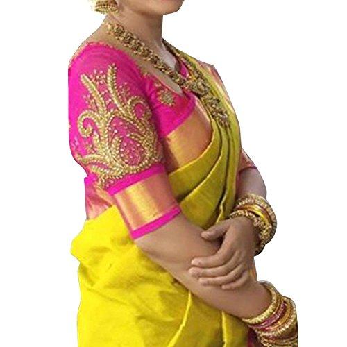 Visva Fashion Women's Cotton Saree With Blouse Piece (Work_Yllw-N_Yellow)
