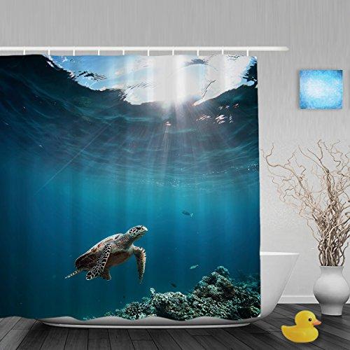 Underwater Coral Reef Decor Badezimmer Dusche Vorhang die Unterwasserwelt Vorhänge Dusche Wasserdicht Polyester-Mildewproof-152,4x 182,9cm Zoll, Polyester, Multi3, 72(length) X 72(width) (Coral Reef Duschvorhang)