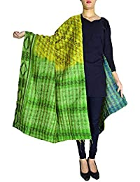 GiftPiper Reversible Kantha Dupatta In Cotton Silk-Green&Blue