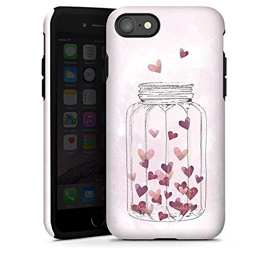 Apple iPhone X Silikon Hülle Case Schutzhülle Herzen Liebe Grafik Tough Case glänzend