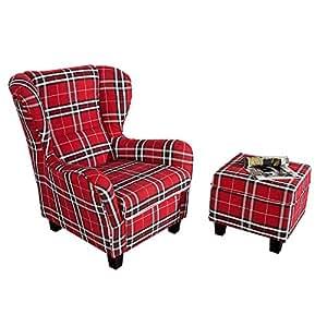 Fauteuil à oreilles avec tabouret rouge à carreaux moderne jACKSON fauteuil et tabouret