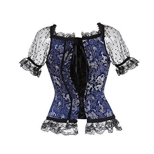 Yonbii Corsagentop Damen Vollbrust Corsage Top mit Ärmel Taillen Korsett Bustier Corset Dirndl Bluse Trachten Shirt Blau