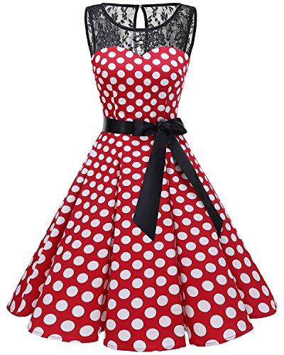 bbonlinedress 1950er Ärmellos Vintage Retro Spitzenkleid Rundhals Abendkleid Red White BDot S (Langarm Vintage-hochzeits-kleid)