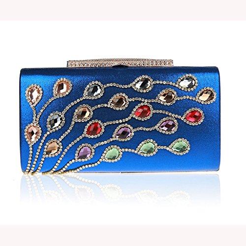 Le pochette banchetto borse vestito bag sposa nuovo sacchetto di sera di modo del vestito borsa del diamante della damigella d'onore ( Colore : 3 ) Navy Blue