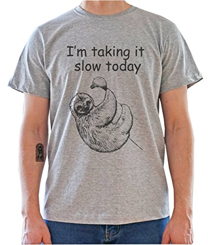 Tree-Dwelling SLOTH - I'm Taking It Slow Today Mens T-Shirt Gris