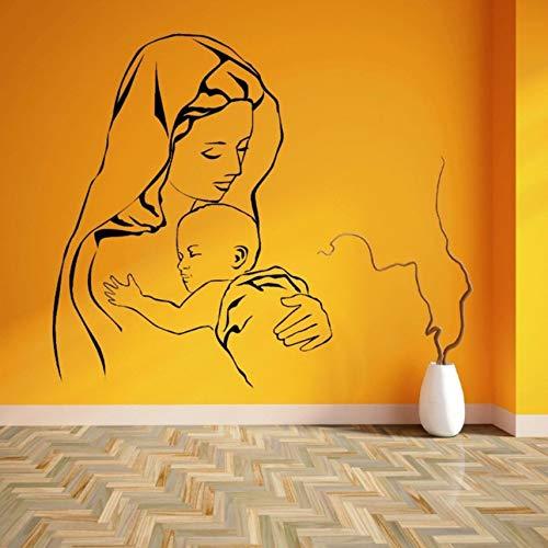 (Hwhz 45 X 57 Cm Jungfrau Maria Und Jesus Mutter Baby Kind Vinyl Wandkunst Aufkleber)