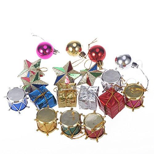 Mini-trommel Anhänger (Tinksky 18 stücke Glitter Weihnachtsbaum Ornamente Hängende Dekoration Mini Drums Geschenke Sterne Bälle Anhänger Weihnachten Urlaub Hochzeit Decor)