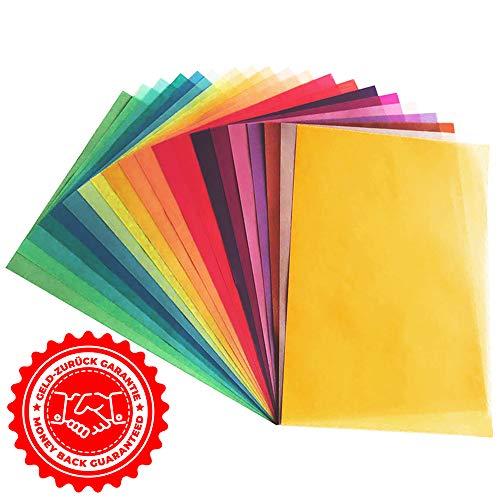 20 fogli di Carta Lucida Trasparente in 20 colori differenti   Formato A4   130 g/m²   Carta Regalo Lucida Colorata per Bricolage Creativo, Decorazioni e Diesgni   Qualità Premium