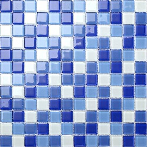 30cm x 30cm Plain Blue & White Glass Mosaic Tiles Sheet (MT0081)