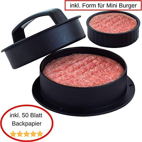 Smiling Hosts 3 in 1 Burgerpresse-Set inkl. 50 Blatt Backpapier + Pattie Presse für Mini Burger + gefüllte Hamburger/Frikadellen