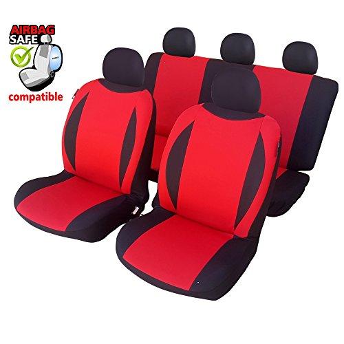 Preisvergleich Produktbild UNSB602 - Sitzbezug Set Schwarz / Rot Sitzschoner Sitzkissen mit Seiten Airbag geeignet für Opel Manta Tigra Agila Antra Combo Kadett