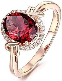 Anillo de oro rosa de 18 quilates para mujeres, compromiso, boda, rubí,