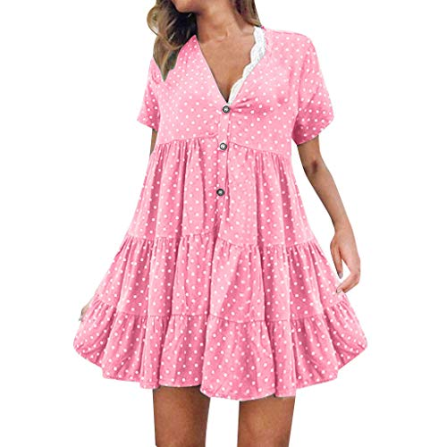 GOKOMO Frauen sexy Mode V-Ausschnitt Polka Dot gedruckt Kurzarm Kleid Womens Cream Puff