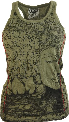 Guru-Shop Sure Top Buddha, Damen, Olive, Baumwolle, Size:S(34/36), `Sure` Shirts Alternative Bekleidung (Grünen T-shirt Buddha)