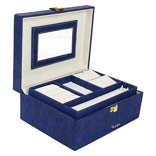Richpiks Medium Travel Friendly Jewellery Accessories Box Blue (PI 170)