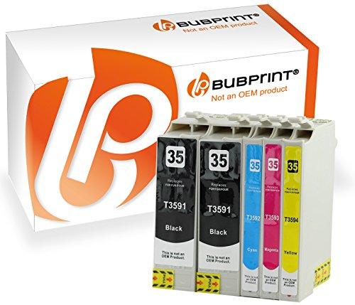 5 Bubprint Druckerpatronen kompatibel für Epson T3591 T3592 T3593 T3594 XL 35XL WorkForce Pro WF-4720DWF WF-4725DWF WF-4730DTWF WF-4735DTWF WF-4740DTWF Multipack Set