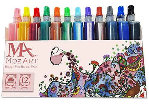 brush-pen-refill-pack-12-colors-water-based-ink-mozart-supplies