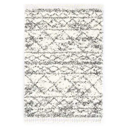 Vidaxl tappeto shaggy berbero naturale elegante con frange lavorate a mano pelo alto corsia passatoia in pp beige e sabbia 80x150 cm