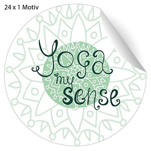 24 edle Wellness Aufkleber grün mit Yoga Spruch auf Boho Muster, MATTE Papier Sticker für Geschenke, Mitgebsel, universal Etiketten für Deko, Pakete, Briefe etc (ø 45mm; 24 x 1 Motiv) Yoga my sense