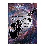 HAPPY FREAKS Poster 'Gitarre' bunt DIN A2 - Musik-Wandbild Modern Motivation - Plakat ohne Rahmen - Bilder und Dekoration