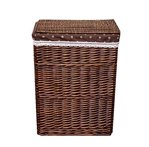 HU Schmutzige Kleidung Aufbewahrungskorb Rattan Hamster Box Große Wäschekorb Spielzeug/Kleinigkeiten Lagerung Basketful mit Deckel (Kaffee Farbe)