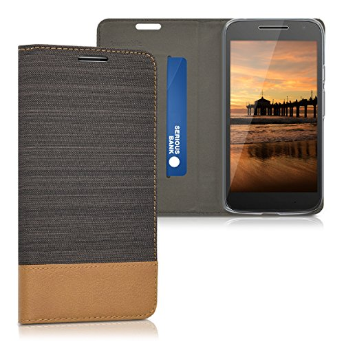 kwmobile Motorola Moto G4 Play Hülle - Stoff Handy Cover Case mit Ständer - Schutzhülle für Motorola Moto G4 Play