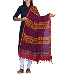 Unnati Silks Women Hand Block Printed Red Pure Rajasthani Cotton Dupatta From The Weavers Of Rajasthan (UDS1672)
