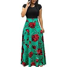 Conquro Falda Larga Estampado de Flores Falda Larga para Mujer Cintura Alta  Vestido Cintura Delgada Vestido f8ee00621910