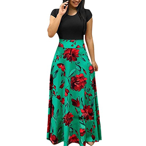 SamMoSon Dress Material for Womens Party Wear Under 501,Women's Dresses,Womens Fashion Casual Floral Printed Maxi Dress Short Sleeve Party Long Dress,Green,XL