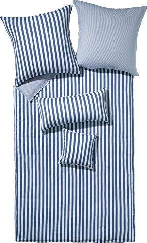 Erwin Müller Wendebettwäsche, Bettwäsche Single-Jersey Streifen blau-Weiss Größe 135x200 cm (40x80 cm) - bügelfrei, temparaturausgleichend, atmungsaktiv, mit Reißverschluss (weitere Größen) -