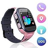 Jslai Niños Smartwatch Relojes, Inteligente LBS Tracker de Alarma SOS Infantil Relojes de Pulsera Cámara Reloj móvil Mejor Regalo para Niño niña de 3-12 años Compatible con iOS/Android(Pink)