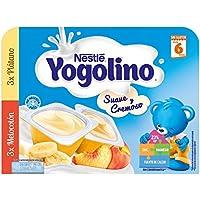 Nestlé iogolino Postre Lácteo Suave y Cremoso con Sabor Plátano y Melocotón a Partir de 6 Meses - Paquete de 6 x 60 g - Total: 360 g