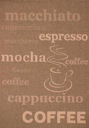 Lalee  347180448  Teppich / Sisal Optik / Flach / Küche / Muster : Kaffee Bistro / Braun / Grösse : 120 x 170 cm Küche-teppich, Gelb, Blau