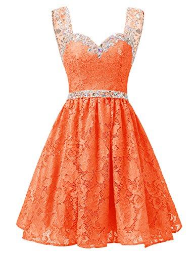 Dresstells Damen Herzform Ausschnitte Spitze Kurz Cocktailkleid Homecoming Kleider Orange