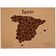 Miss Wood Woody Map L - Mapa del mundo de corcho con diseño España , color marrón