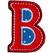 079669b0b60ed B 9cm ABC rot blau Buchstaben Aufbügler Buchstaben Namen Patch zum  Aufbügeln auf Rock Hosen Kleider