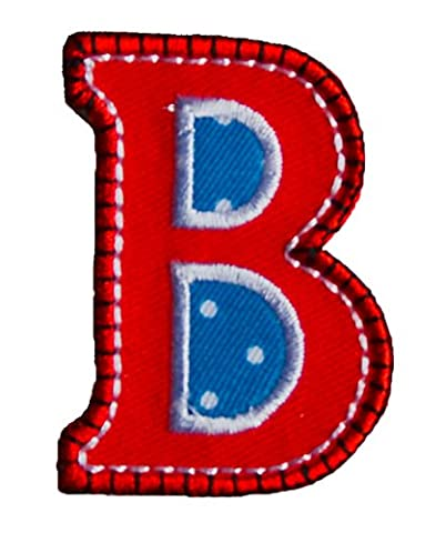 B red blue 5cm for fabric clothing jeans crafts names to iron on door dresses bag hat cushion skirt ceiling hat trousers pants cap flag neckerchief bunting scarf backpack jacket dresses to personalize gifts for children iron on patches kids city club football sports application birth christening birthday clothes personally iron on patches sew on applique personalize letters motifs embroidered craft hobby diy personalized birthday baptism christening birth baby gift toddler kids child