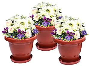 Klassic Planter Plastic Pot Set (3 Planter + 3 Tray, Dark Brown, Set of 3)
