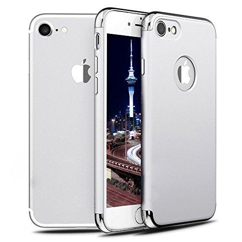 iMounTop Hülle iPhone 7 Hülle Case Tasche Zubehör Gehäuse Rahmen Fall Etui 3-in-1 Plating Überzug PC Anti-stoß Schutzhülle Tasche Schale für iPhone 7 Smartphone (4.7 Zoll) (Silver)