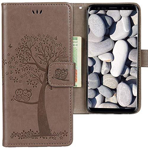CLM-Tech Samsung Galaxy S9 Hülle, Tasche aus Kunstleder, Baum Eule grau, PU Leder-Tasche für Galaxy S9 Lederhülle